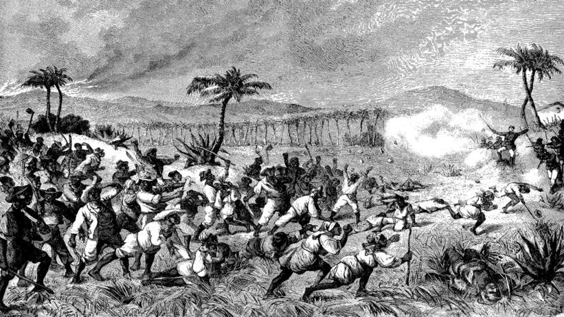 Gravure du journal Illustreret Tidende datant de novembre 1878 et illustrant la révolte du Fireburn : une foule d'esclave s'attaque à une plantation de canne à sucre
