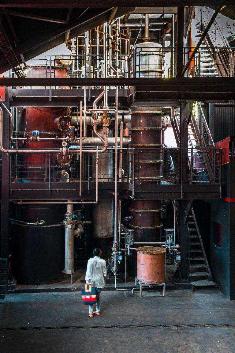 Femme de dos face à la colonne à distiller de la distillerie JM
