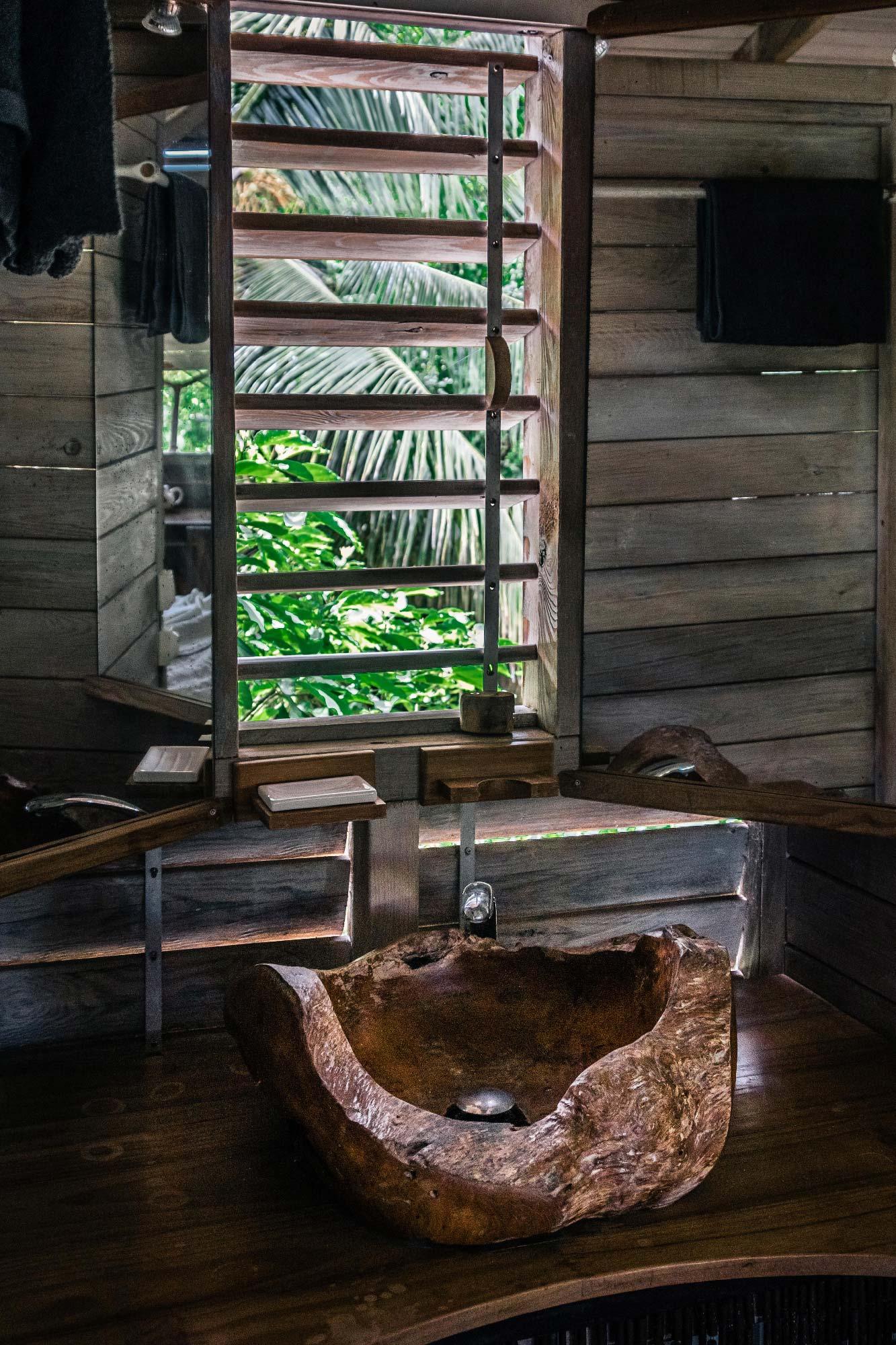 Domaine de Robinson : lavabo en bois pétrifié